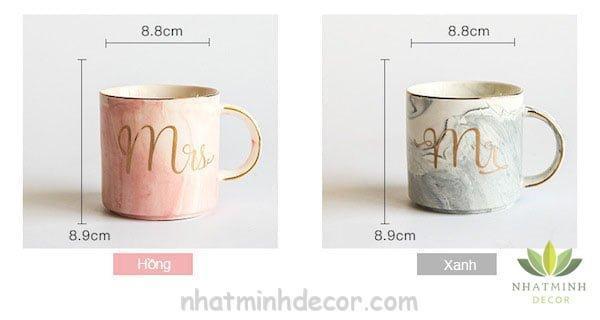 Cốc sứ cẩm thạch Mr & Mrs 7