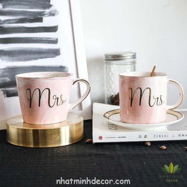 Cốc sứ cẩm thạch Mr & Mrs 9