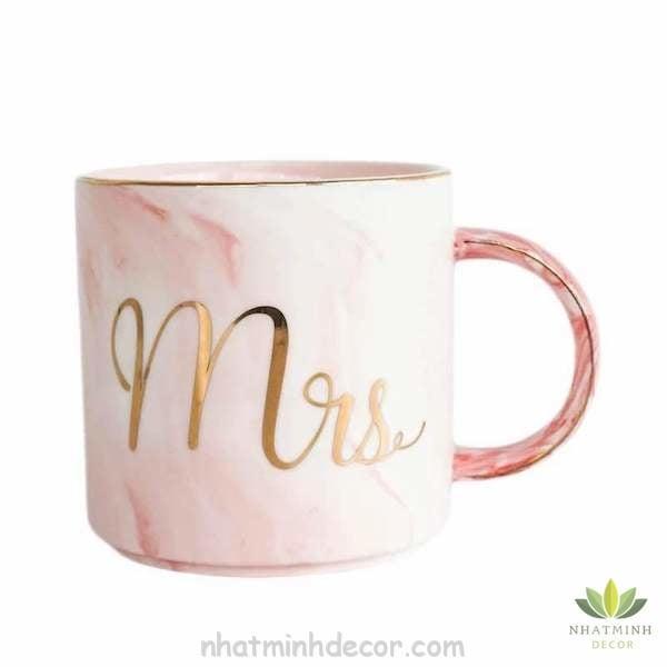 Cốc sứ cẩm thạch Mr & Mrs 6