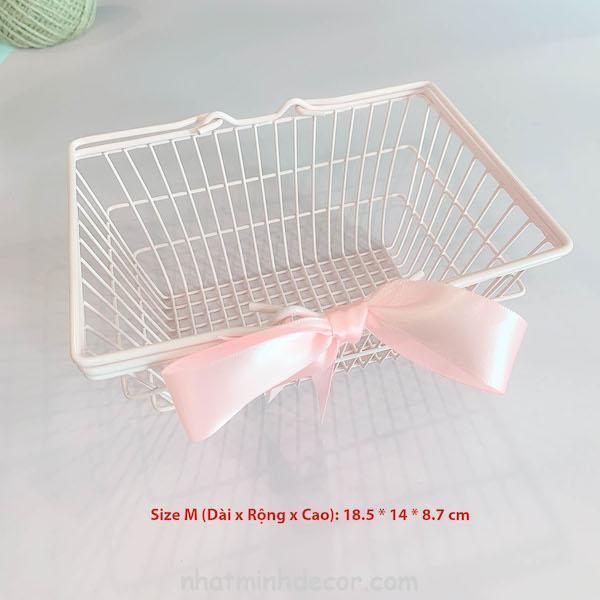 Giỏ sắt hồng thắt nơ đựng mỹ phẩm, trang sức 6