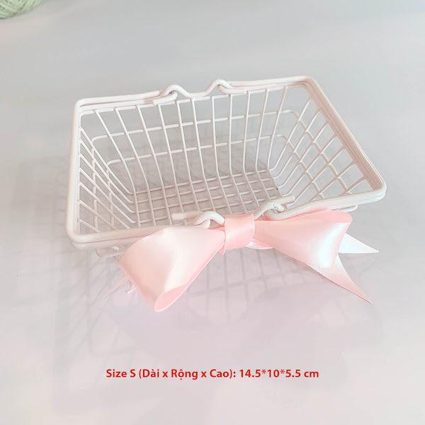 Giỏ sắt hồng thắt nơ đựng mỹ phẩm, trang sức 11