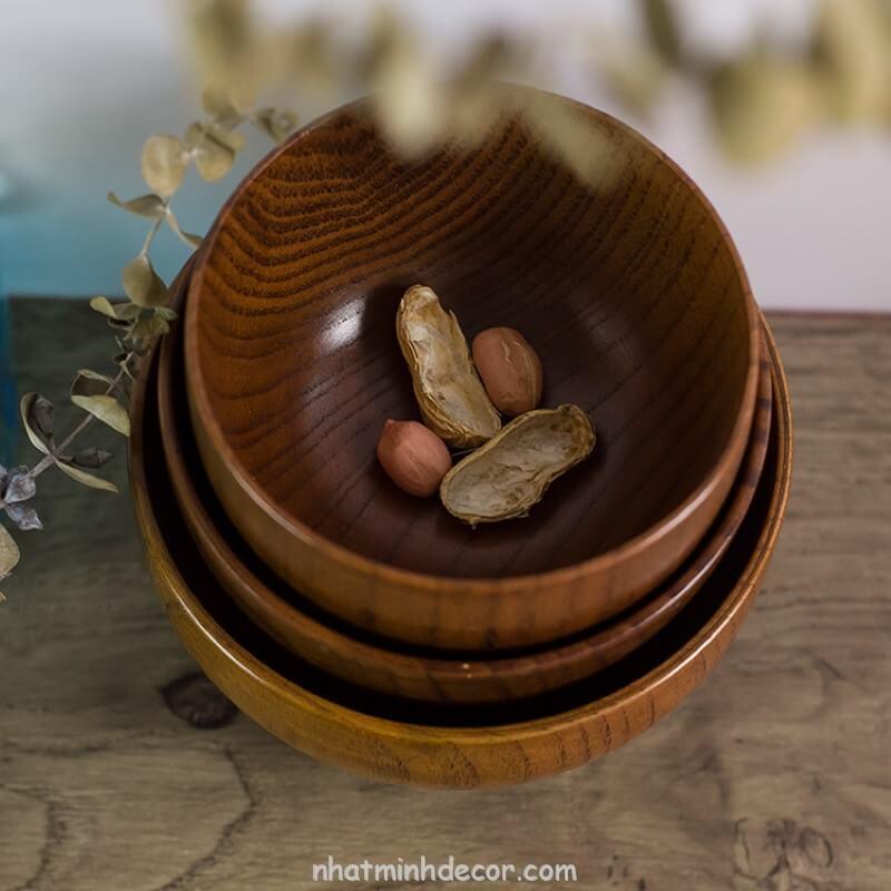 Bát gỗ đạo cụ chụp ảnh đồ ăn 2