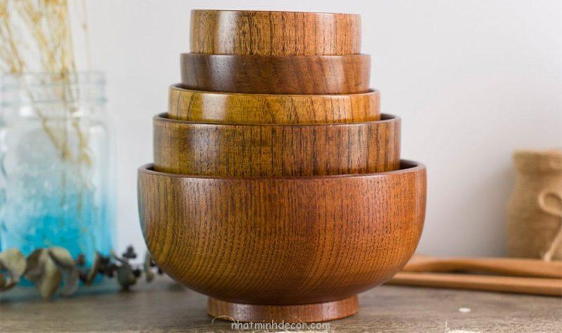 Bát gỗ đạo cụ chụp ảnh đồ ăn 1