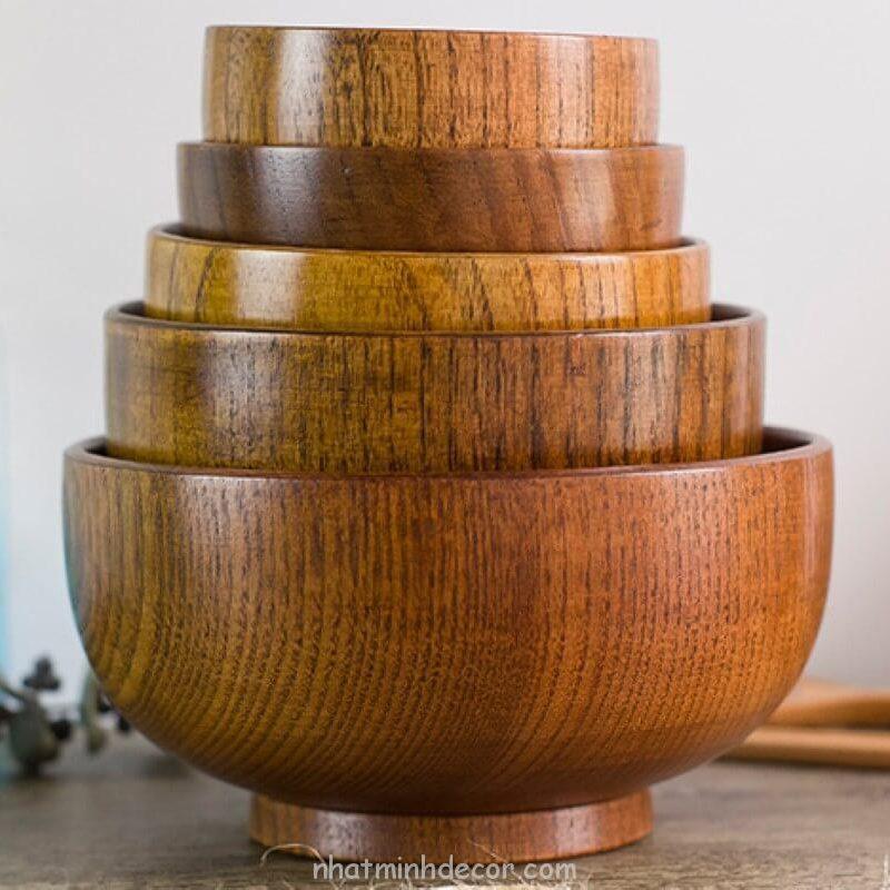 Bát gỗ đạo cụ chụp ảnh đồ ăn 8