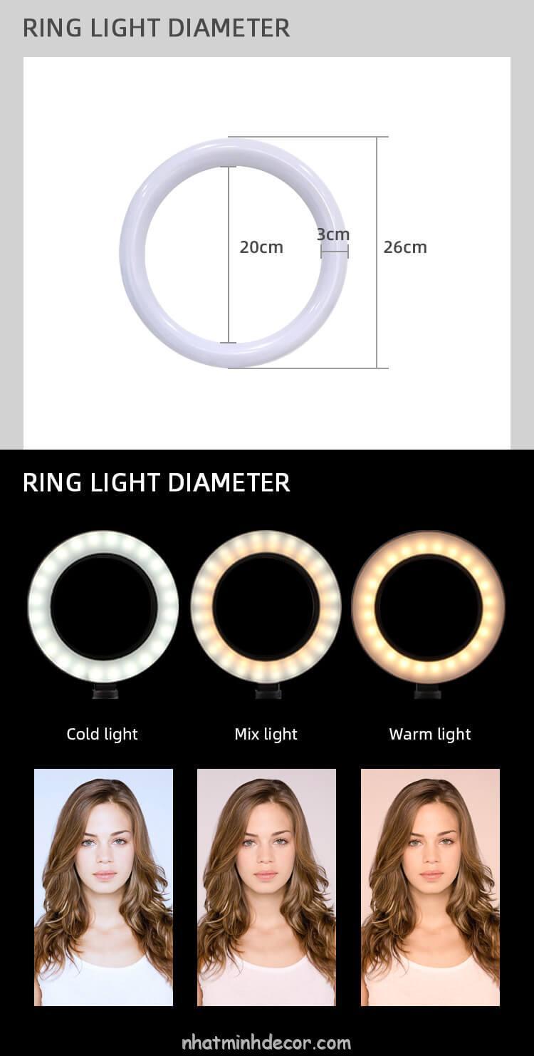 Đèn Led Ring tròn hỗ trợ chụp ảnh, livestream, quay video 26 CM 10